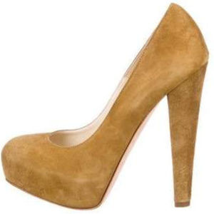 Brian Atwood Power 140 Tan Cognac Suede Pumps 39